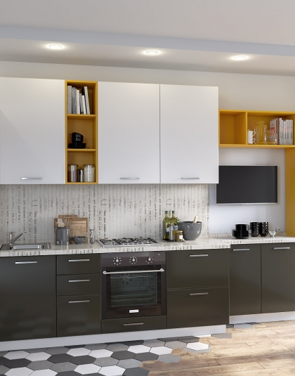 Кухонный гарнитур комбинированный МДФ Серый глянец-Контур Модерн Цена-50100 руб
